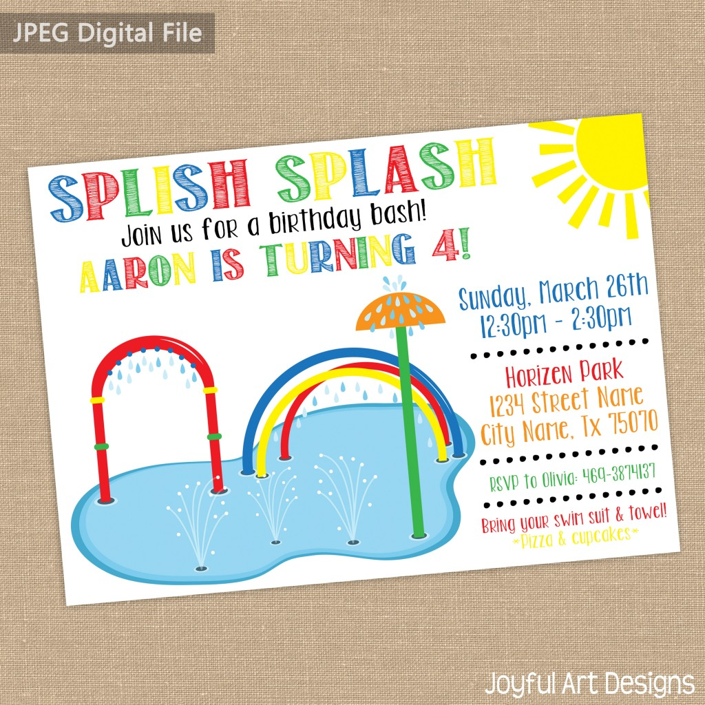 Splash pad birthday party invitation