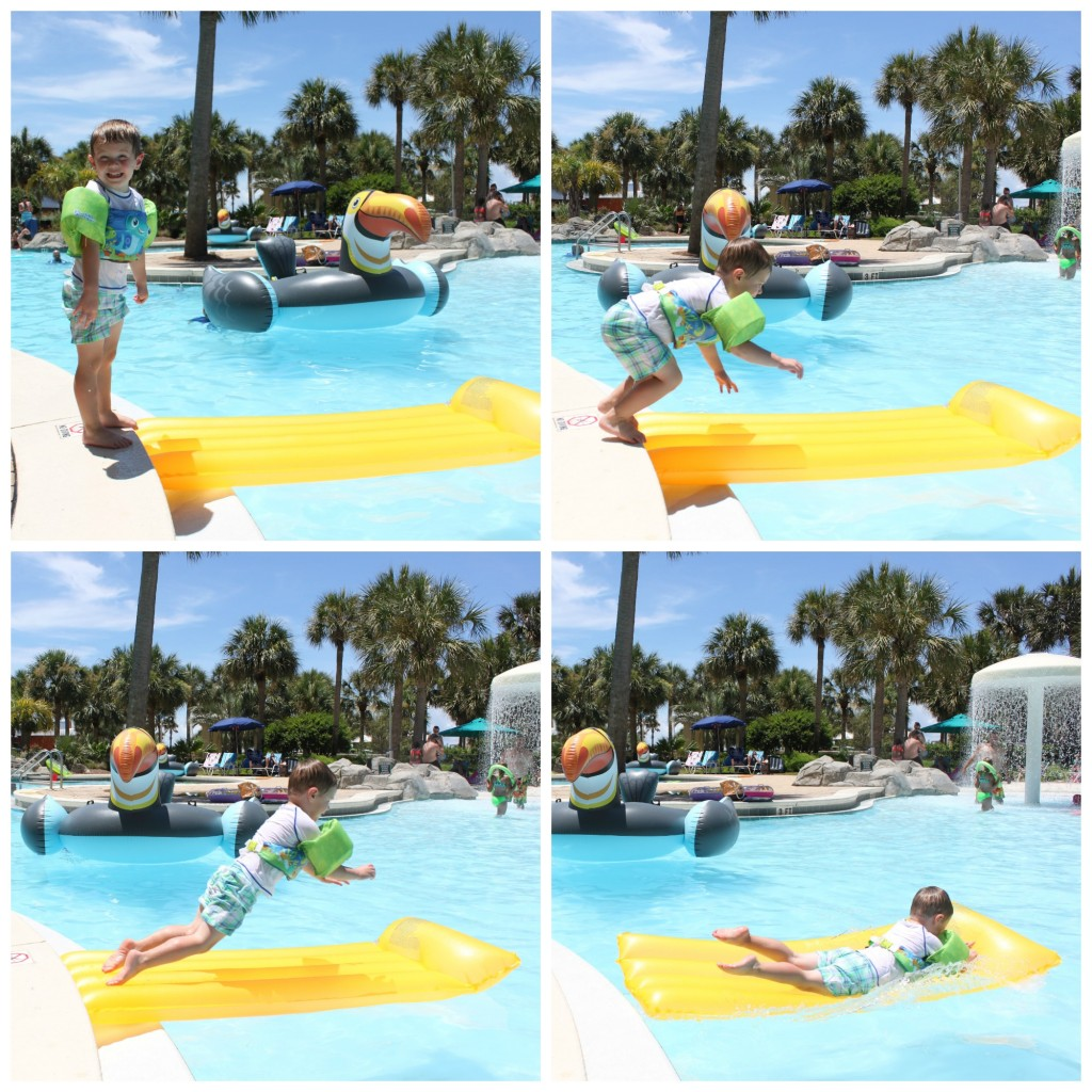 M jumping in pool